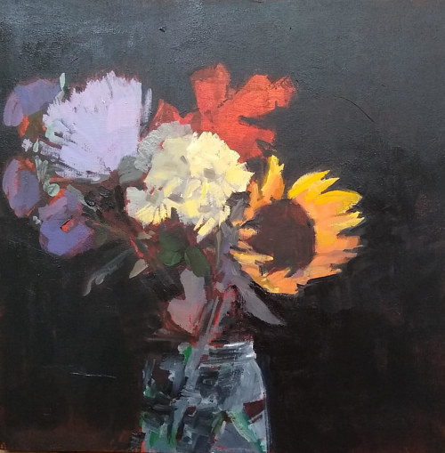 A painting of a bouquet of flowers in the dark