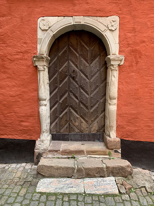 A photograph of an interesting door in Sweden