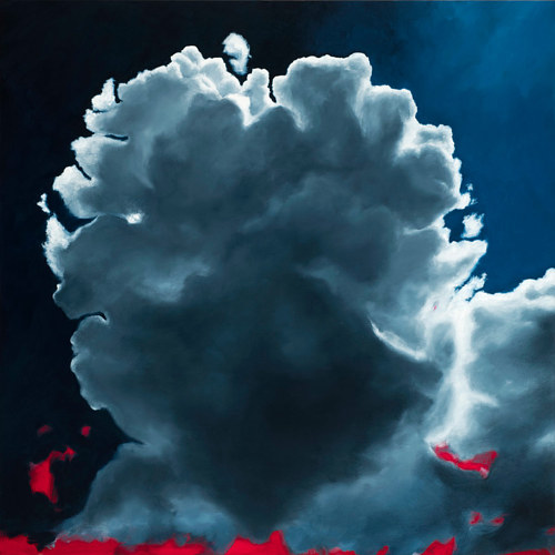 A dramatic painting of clouds on a dark sky