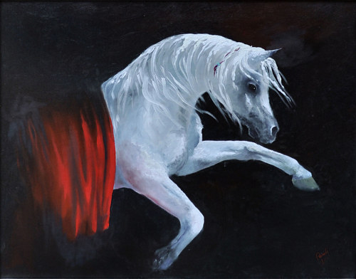 A painting of a white horse on a black background