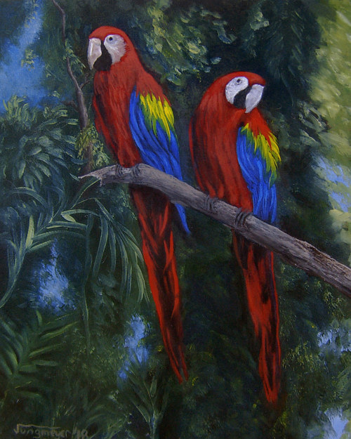 A painting of two parrots