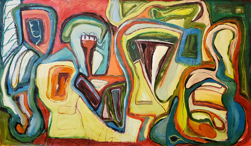 A large abstract oil painting with several intersecting shapes
