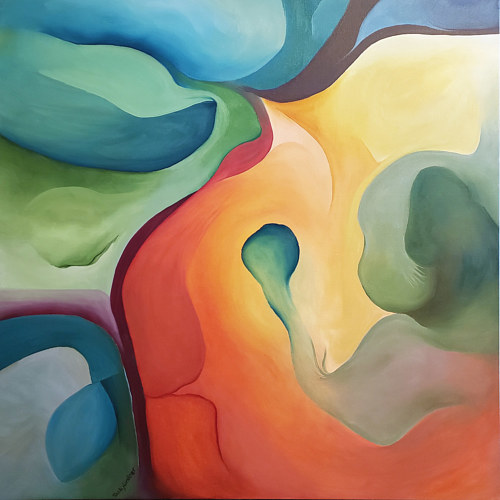 An abstract painting with smooth blended planes of colour