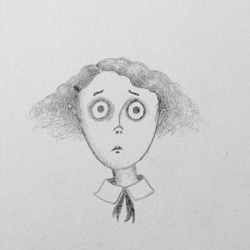 drawing of woman with big eyes and frizzy hair
