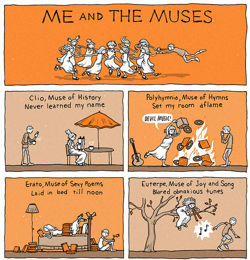 cartoon strip about muses