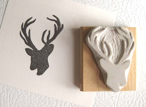 Handmade stamp of a deer's head