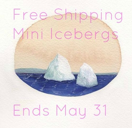 promotional image with two icebergs