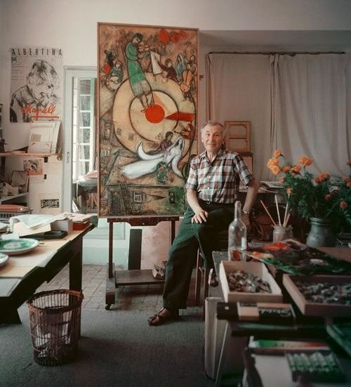 man in his art studio with painting