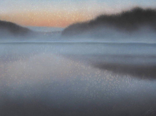 pastel landscape of a foggy lake
