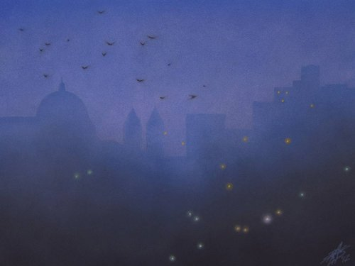 pastel drawing at night showing crows flying in the sky over a silhouette of a Basilica