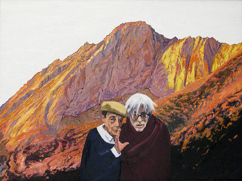 painting of two men with mountains in the background