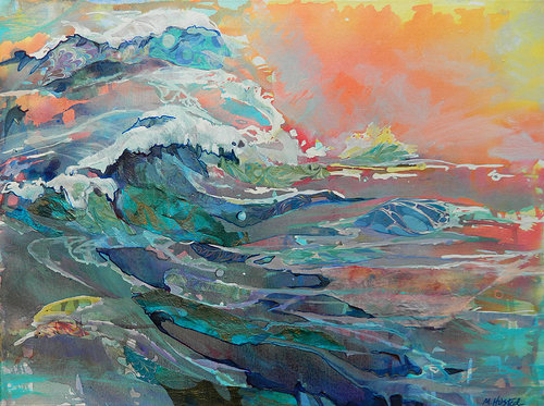 painting of ocean waves using bright colors
