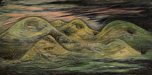 artwork of rolling foothills in a dark style