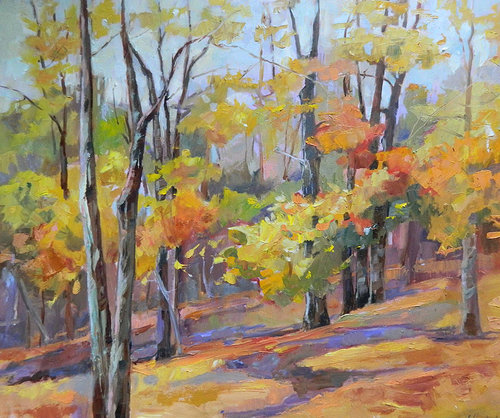oil painting of trees in the fall