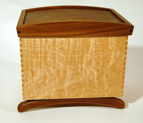wooden box made from maple and walnut wood