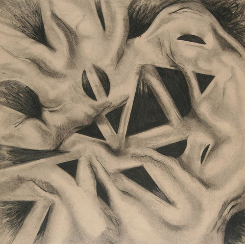 Charcoal drawing of weird shapes