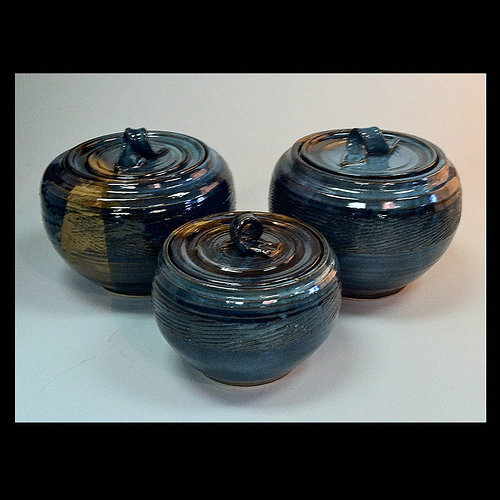 ceramic pots with lids and blue glaze