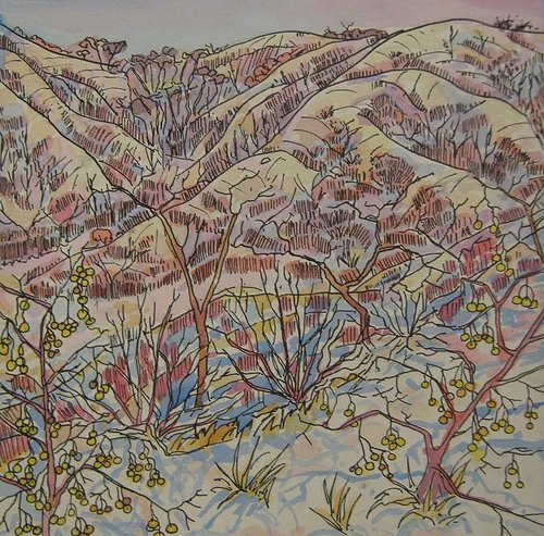 drawing of trees and hills