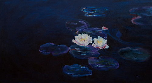 oil painting of water lillies. the background is dark blue and takes up most of the image. the lilies are white.