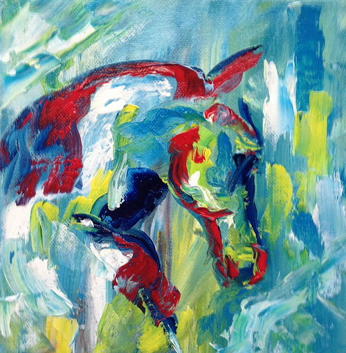 abstract oil painting of a horse on canvas material