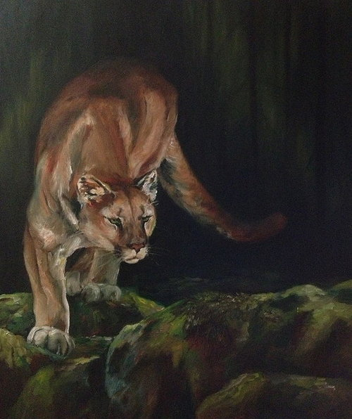 oil painting of a cougar in tense pose