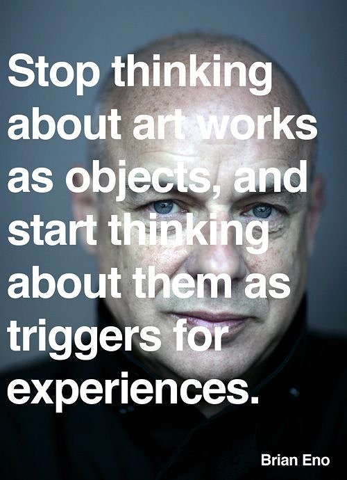photo of brian eno with text overlaid that talks about artwork and experiences