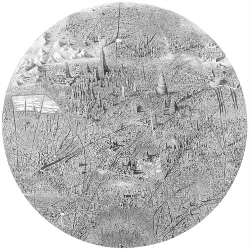 etching of a city scene that is very detailed