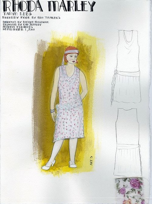 drawing of woman wearing a dress with sketches of dress designs beside it