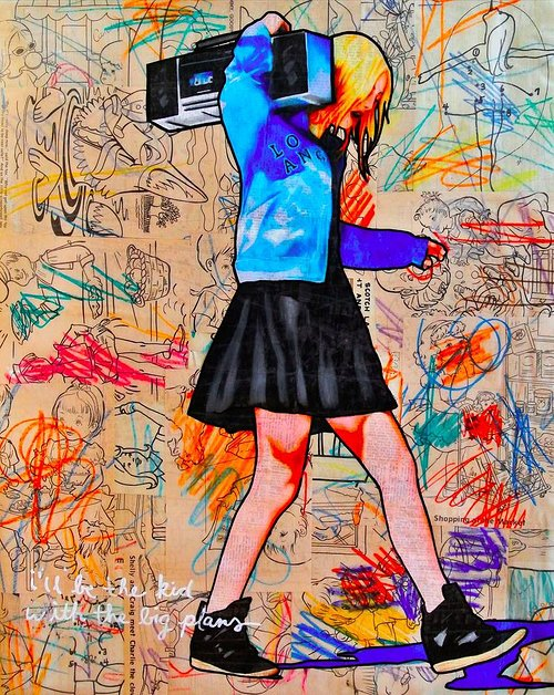 drawing of girl carrying boom-box with scribbles in the background