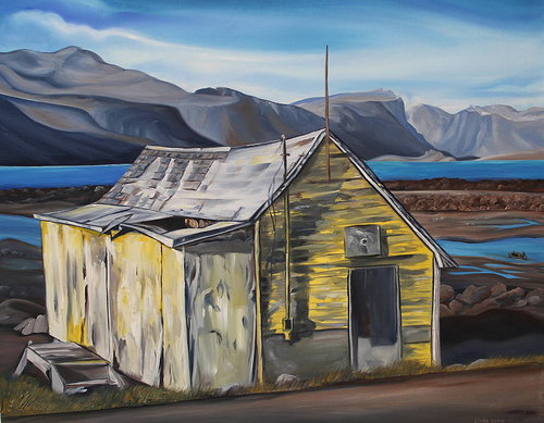 painting of yellow house with mountains and ocean in the background