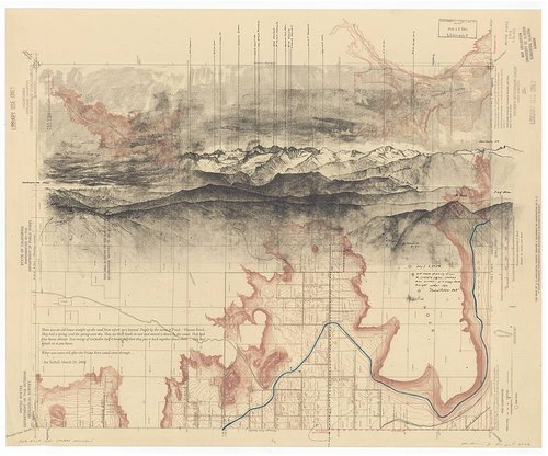 lithograph of a map overlaid with a drawing of a mountain scape
