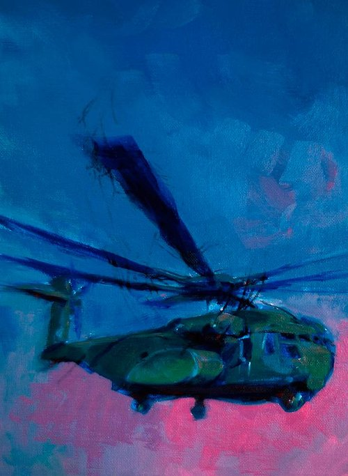 painting of green helicopter on a blue background done in a loose style