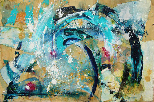 abstract wave painting with blue and gold paint