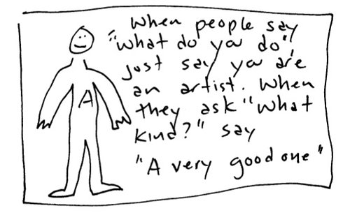 cartoon drawing of an artist with a quote