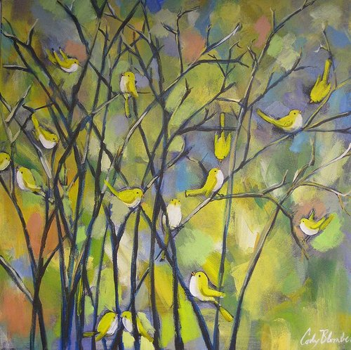 oil painting of small yellow birds in a tree