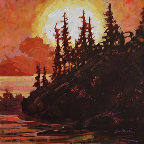 acrylic painting of trees at sunset with a glowing red background