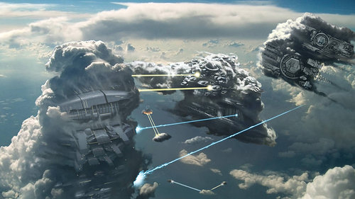 sketch of spaceships shooting laser beams