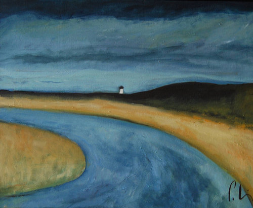 oil painting of a road with a lighthouse in the background