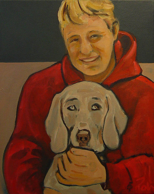 painting of man smiling and holding a dog