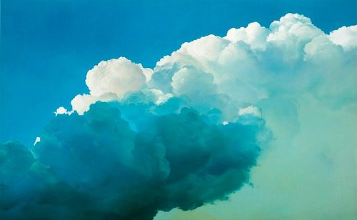 oil painting of white clouds in a blue sky