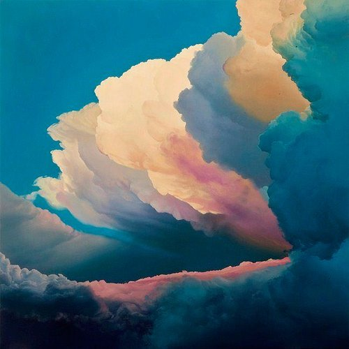 painting of clouds during sunset that shows a range of colors