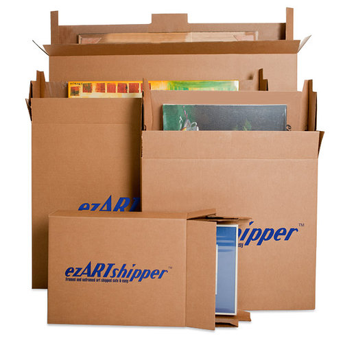 card board boxes with the word ezArtShipper on the side of them