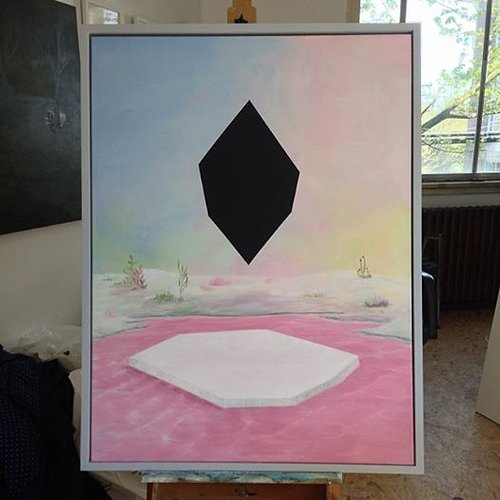 painting of black geometric shape in a rainbow winter scene