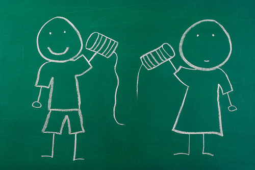 chalk board drawing of two people holding tin cans to play telephone