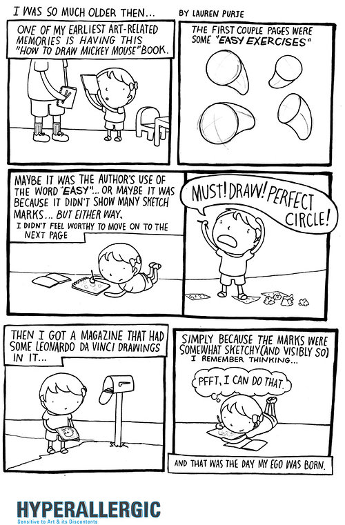 cartoon strip about drawing a circle