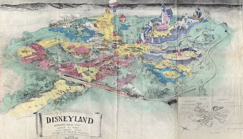 map drawing of disneyland from aerial perspective