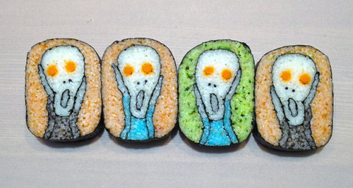 sushi rolls with Edvard Munch's The Scream character in the middle