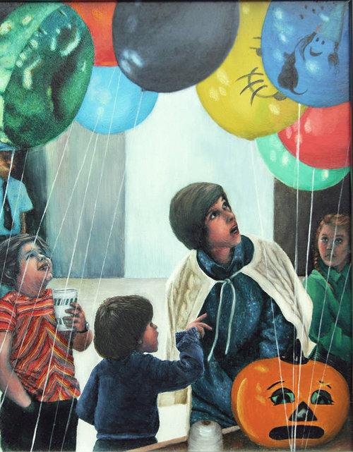 realistic painting of woman and children look up at some balloons