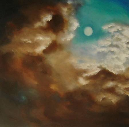 painting of clouds and the moon