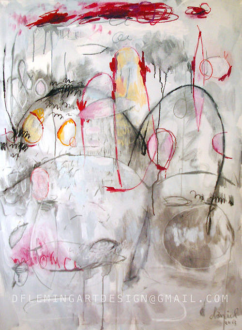 abstract image with white paint and red scribbles